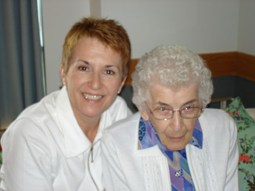 Caregiver Betty Lou Earl with her mother Cecilia is grateful for ongoing support from Parkinson Society Saskatchewan.