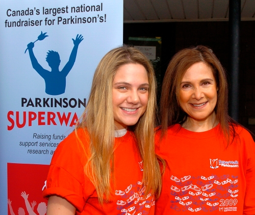 Star of Canadian television hit Degrassi: The Next Generation, Lauren Collins, unveiled the new look for SuperWalk 2010 at the Toronto SuperWalk for Parkinson's Sunday. Collins, left, walked with her mother, Sari, for her father who has been living with Parkinson's for over 20 years.