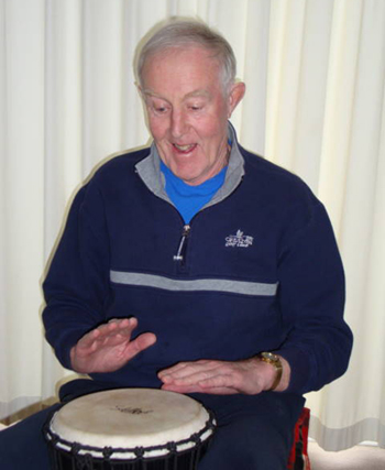 Philip Thomas demonstrates his drumming skills.